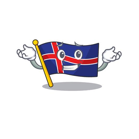 Flag iceland grinning in with shape cartoon