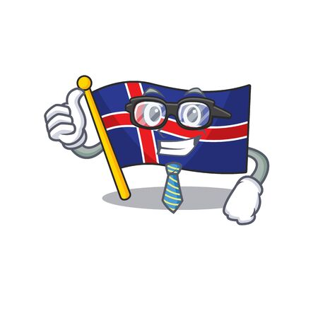 Character flag iceland isolated with the businessman