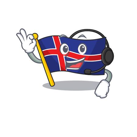 Mascot flag iceland in with headphone cute Иллюстрация