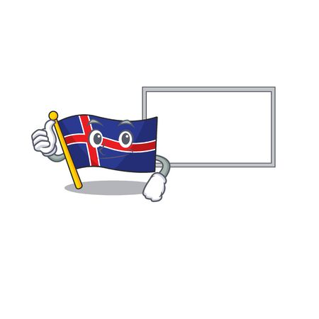 Mascot flag iceland with in character thumbs up with board