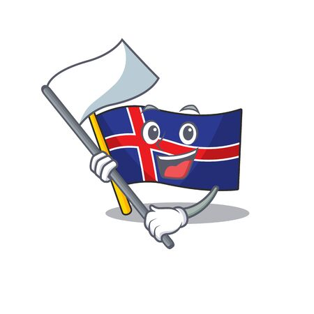 Cartoon flag iceland with mascot bring flag