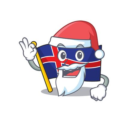 Cartoon flag iceland with mascot santa claus Иллюстрация