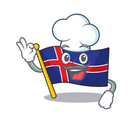Cartoon flag iceland with the chef character