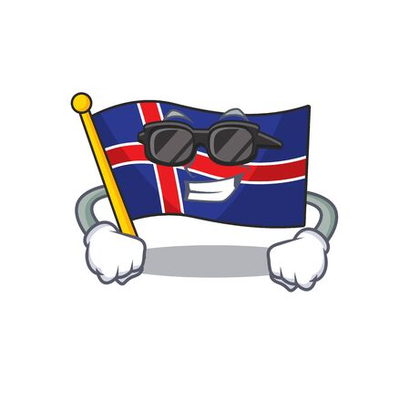 Mascot flag iceland with super cool isolated