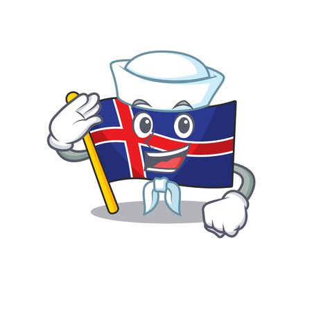 Mascot flag iceland sailor the with cartoon