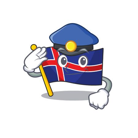 Character flag iceland with in police shape