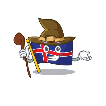 Character flag iceland with the cartoon witch