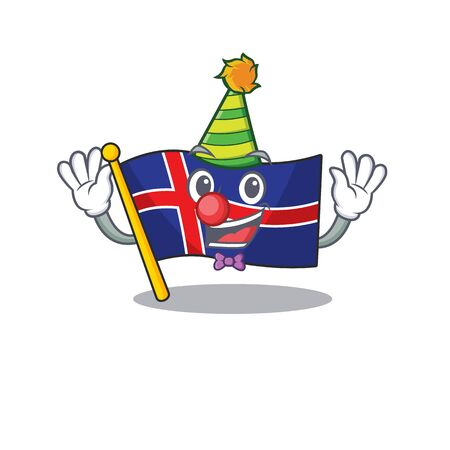 Character flag iceland in cartoon clown shape. Vector illustration