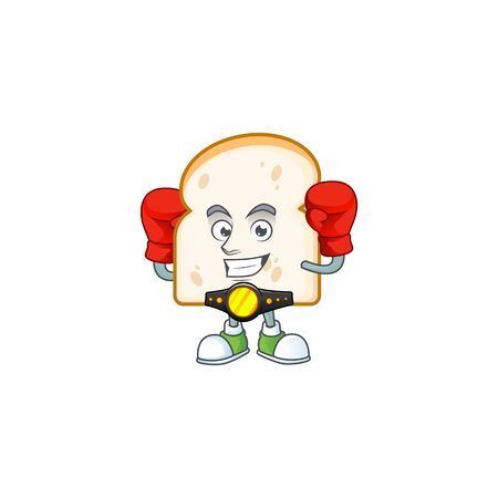 Character the boxing in the slice white bread vector illustration