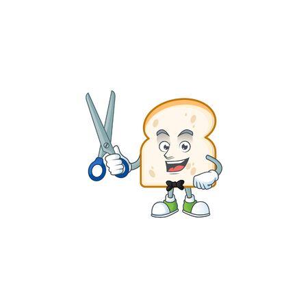 Barber mascot cartoon in slice white bread vector illustration Reklamní fotografie - 133636799