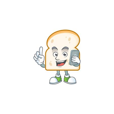 Cartoon a slice white bread with holding phone. Vector illustration