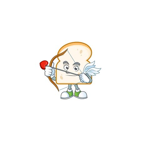 Cartoon slice white bread with cupid mascot vector illustration Illustration