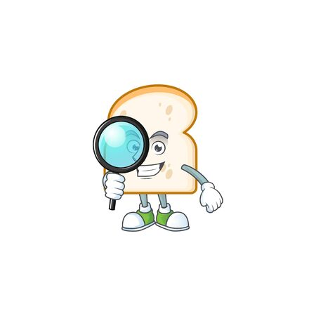 Character detective in the slice white bread vector illustration