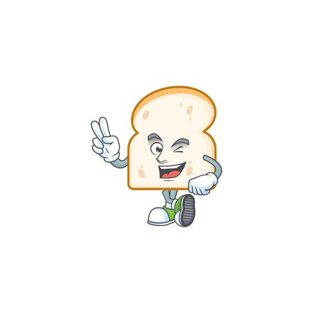 Character two finger in the slice white bread vector illustration