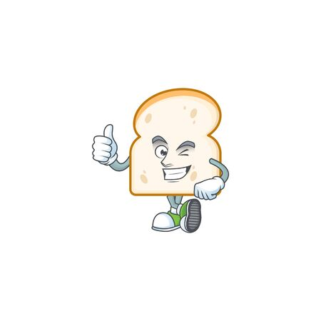 Character thumbs up in the slice white bread vector illustration Illustration