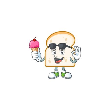 Mascot with ice cream in the slice white bread vector illustration 일러스트