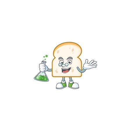 Mascot professor in the slice white bread vector illustration