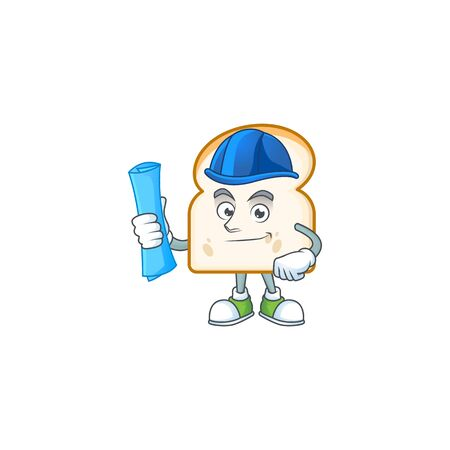 Slice white bread with architect character mascot vector illustration
