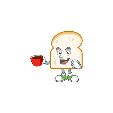 Cartoon slice white bread with drinking in cup. Vector illustration