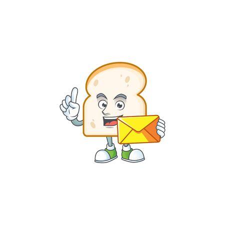 Mascot bring envelope in the slice white bread vector illustration 일러스트