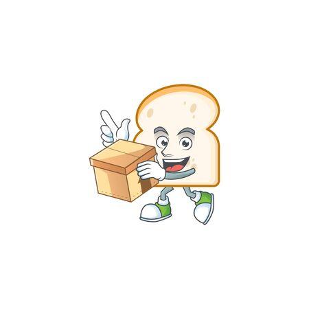 Cartoon slice white bread with bring box. Vector illustration