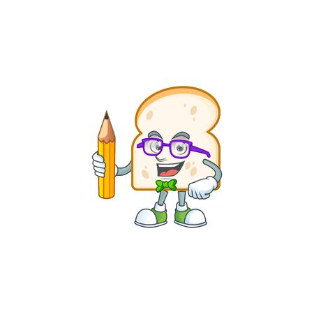 Student holding pencil in the cartoon slice white bread. Vector illustration