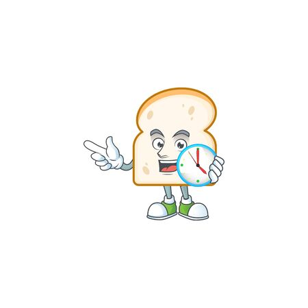 Cartoon slice white bread with bring clock. Vector illustration
