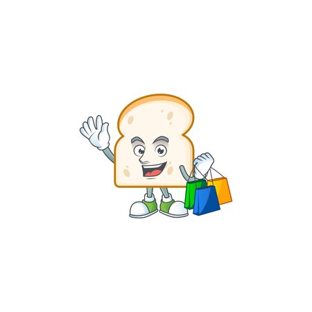 Character shopping in the slice white bread vector illustration Ilustracja