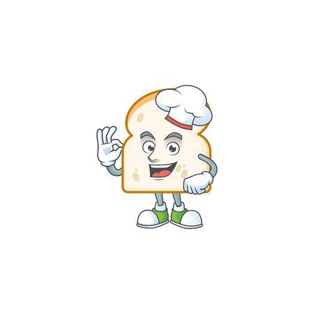 Chef mascot in the slice white bread vector illustration