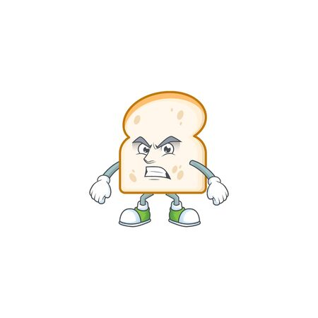 Character annoyed in the slice white bread vector illustration Illustration