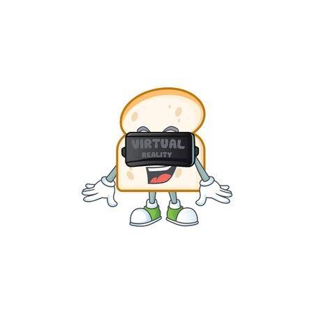 Cute slice white bread with virtual reality mascot vector illustration