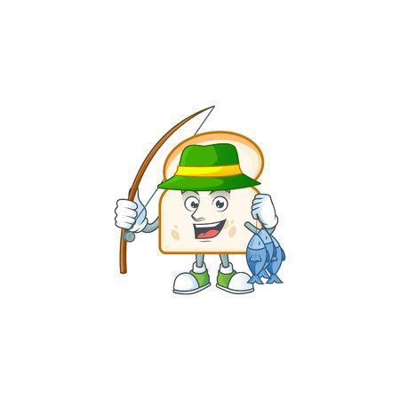 Cute slice white bread with fishing mascot vector illustration