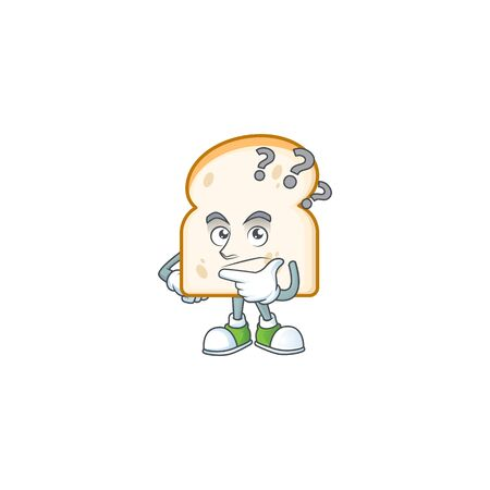 Cute slice white bread with thinking mascot vector illustration