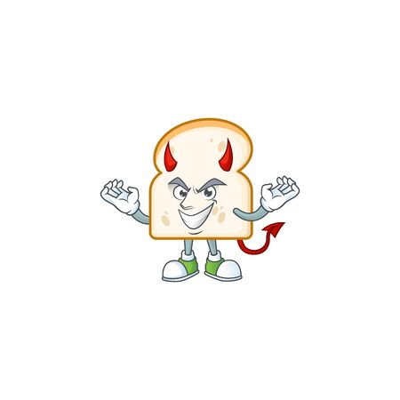 Cute slice white bread with devil mascot vector illustration