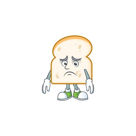 Cute slice white bread with afraid mascot vector illustration