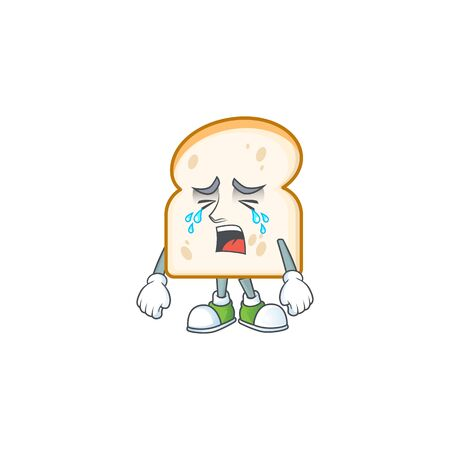 Cute slice white bread with crying mascot vector illustration
