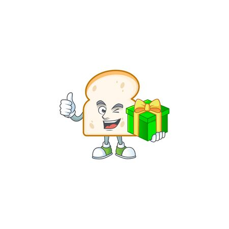 Cute slice white bread with mascot holding gift vector illustration Illustration
