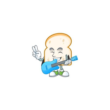 Cute slice white bread with mascot holding guitar. vector illustration 일러스트