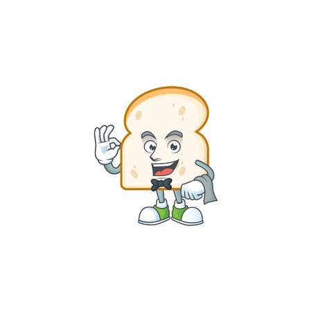 Cute slice white bread with waiter mascot. vector illustration Ilustracja