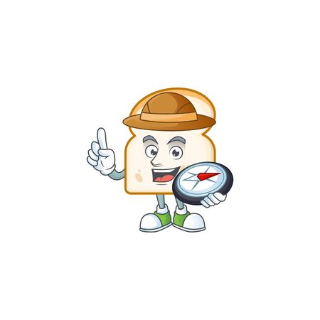Cute slice white bread with mascot holding compass. vector illustration Ilustracja
