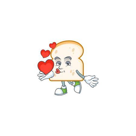 Slice white bread with mascot holding heart. Vector illustration Ilustracja