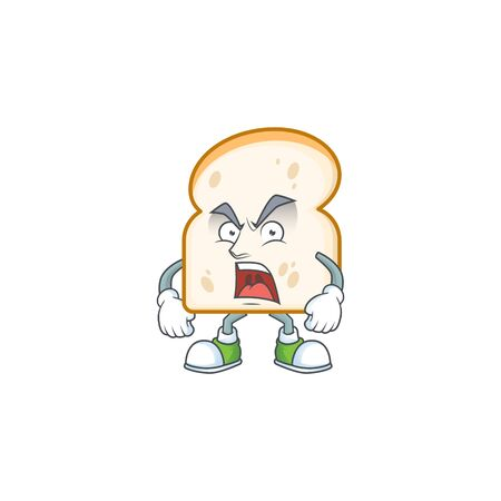Character angry in the slice white bread. Vector illustration