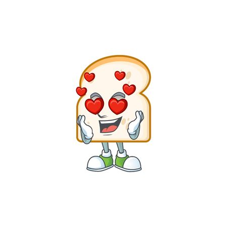 Slice white bread with in love character vector illustration