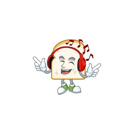 Listening music cartoon mascot with slice white bread. Vector illustration Ilustracja