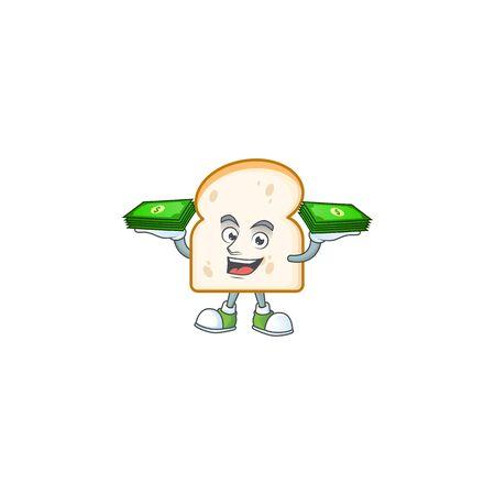 Slice white bread with mascot holding money. Vector illustration 일러스트
