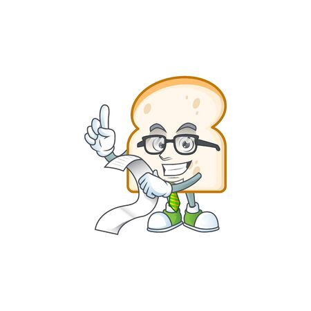 Cartoon slice white bread with holding bill. Vector illustration