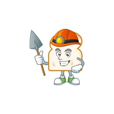 Miner mascot cartoon with delicious slice white bread. vector illustration Ilustracja