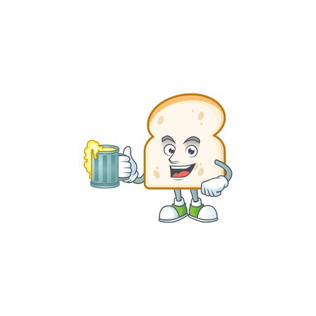 Cartoon slice white bread with holding juice. Vector illustration Illustration