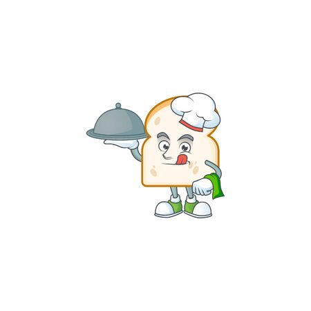 Cartoon slice white bread with chef holding food. Vector illustration Ilustracja
