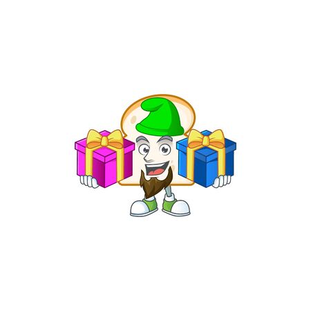 Food slice white bread with mascot bring two gifts. Vector illustration